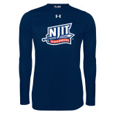 Under Armour Navy Long Sleeve Tech Tee-NJIT Mark