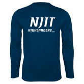 Performance Navy Longsleeve Shirt-Stacked Wordmark