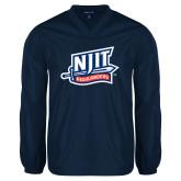 V Neck Navy Raglan Windshirt-NJIT Mark