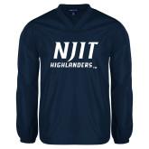 V Neck Navy Raglan Windshirt-Stacked Wordmark