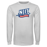 White Long Sleeve T Shirt-NJIT Mark