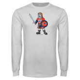 White Long Sleeve T Shirt-Mascot Distressed