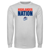 White Long Sleeve T Shirt-Highlander Nation