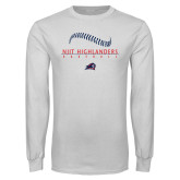 White Long Sleeve T Shirt-Baseball Stacked Design