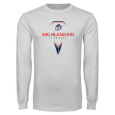 White Long Sleeve T Shirt-Geometric Lacrosse Design