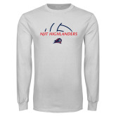 White Long Sleeve T Shirt-Abstract Volleyball Design