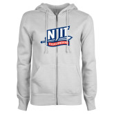 ENZA Ladies White Fleece Full Zip Hoodie-NJIT Mark