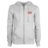 ENZA Ladies White Fleece Full Zip Hoodie-Stacked Wordmark
