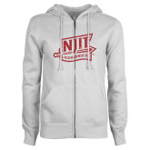 ENZA Ladies White Fleece Full Zip Hoodie-NJIT Mark Glitter