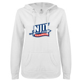 ENZA Ladies White V Notch Raw Edge Fleece Hoodie-NJIT Mark