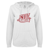ENZA Ladies White V Notch Raw Edge Fleece Hoodie-NJIT Mark Glitter
