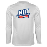 Performance White Longsleeve Shirt-NJIT Mark