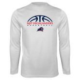 Performance White Longsleeve Shirt-Basketball Half Ball Design