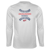 Performance White Longsleeve Shirt-Baseball Seams Design
