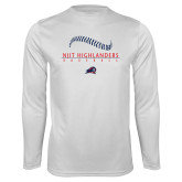 Performance White Longsleeve Shirt-Baseball Stacked Design