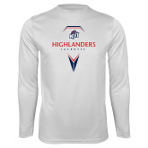 Performance White Longsleeve Shirt-Geometric Lacrosse Design