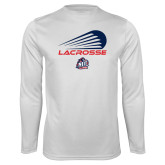 Performance White Longsleeve Shirt-Abstract Lacrosse Design