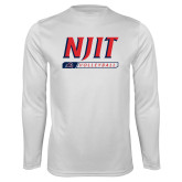 Performance White Longsleeve Shirt-Volleyball Bar Design
