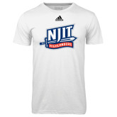 Adidas Climalite White Ultimate Performance Tee-NJIT Mark