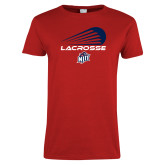 Ladies Red T Shirt-Abstract Lacrosse Design