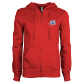 ENZA Ladies Red Fleece Full Zip Hoodie-NJIT Mark