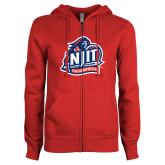 ENZA Ladies Red Fleece Full Zip Hoodie-Official Logo