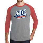 Grey/Red Heather Tri Blend Baseball Raglan-NJIT Mark
