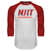 White/Red Raglan Baseball T-Shirt-Stacked Wordmark