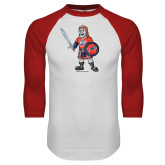 White/Red Raglan Baseball T-Shirt-Mascot Distressed