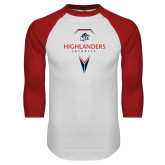 White/Red Raglan Baseball T-Shirt-Geometric Lacrosse Design