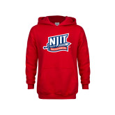 Youth Red Fleece Hoodie-NJIT Mark