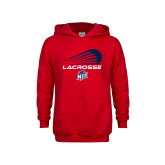Youth Red Fleece Hoodie-Abstract Lacrosse Design