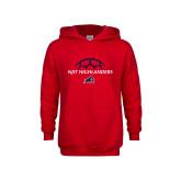 Youth Red Fleece Hoodie-Half Soccer Ball Design