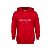Youth Red Fleece Hoodie-Abstract Volleyball Design