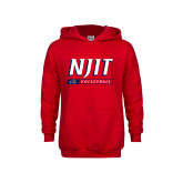 Youth Red Fleece Hoodie-Volleyball Bar Design