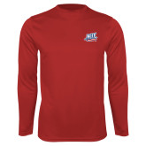 Performance Red Longsleeve Shirt-NJIT Mark