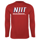 Performance Red Longsleeve Shirt-Stacked Wordmark