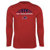 Performance Red Longsleeve Shirt-Basketball Half Ball Design