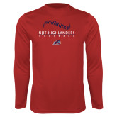 Performance Red Longsleeve Shirt-Baseball Stacked Design