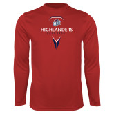 Performance Red Longsleeve Shirt-Geometric Lacrosse Design