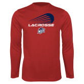 Performance Red Longsleeve Shirt-Abstract Lacrosse Design