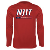 Performance Red Longsleeve Shirt-Volleyball Bar Design
