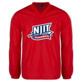 V Neck Red Raglan Windshirt-NJIT Mark