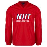 V Neck Red Raglan Windshirt-Stacked Wordmark