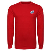 Red Long Sleeve T Shirt-NJIT Mark