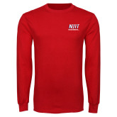 Red Long Sleeve T Shirt-Stacked Wordmark