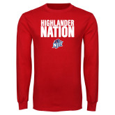 Red Long Sleeve T Shirt-Highlander Nation