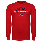 Red Long Sleeve T Shirt-Basketball Half Ball Design
