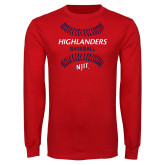 Red Long Sleeve T Shirt-Baseball Seams Design