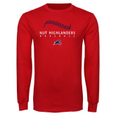 Red Long Sleeve T Shirt-Baseball Stacked Design